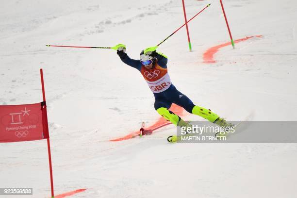 Britain's Dave Ryding competes in the Alpine Skiing Team Event 1/8 finals at the Jeongseon Alpine Center during the Pyeongchang 2018 Winter Olympic...