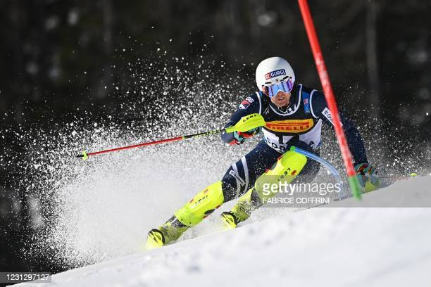 Britain's Dave Ryding competes in the first run of the Men's Slalom on February 21, 2021 at the FIS Alpine World Ski Championships in Cortina...