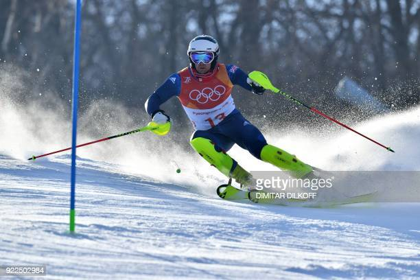Britain's Dave Ryding competes in the Men's Slalom at the Yongpyong Alpine Centre during the Pyeongchang 2018 Winter Olympic Games in Pyeongchang on...
