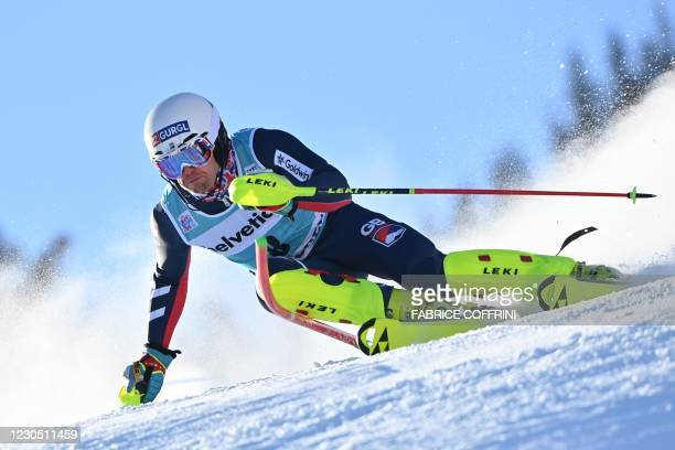 Britain's Dave Ryding competes in the round 1 of the Men's Slalom race during the FIS Alpine ski World Cup on January 10 in Adelboden.