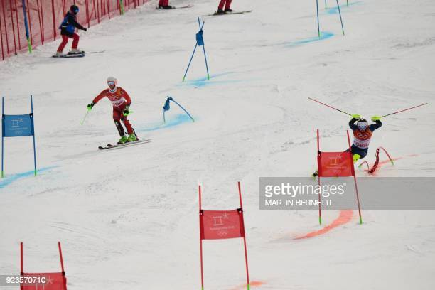 Britain's Dave Ryding competes with Norway's Sebastian FossSolevaag in the Alpine Skiing Team Event quarterfinals at the Jeongseon Alpine Center...