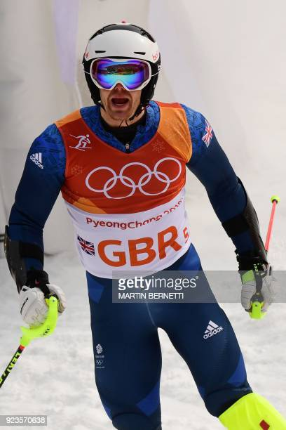 Britain's Dave Ryding reacts after competing in the Alpine Skiing Team Event quarterfinals at the Jeongseon Alpine Center during the Pyeongchang 2018...