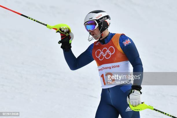 Britain's Dave Ryding reacts after competing in the Men's Slalom at the Yongpyong Alpine Centre during the Pyeongchang 2018 Winter Olympic Games in...