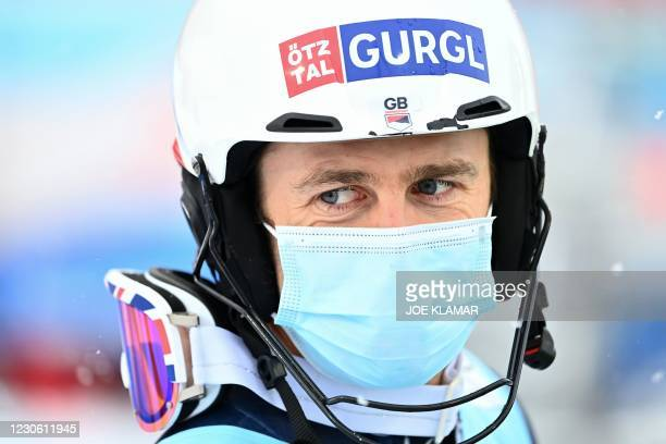 Britain's Dave Ryding reacts after the second run of the slalom event during FIS Men's Alpine Ski World Cup in Flachau, Austria, on January 16, 2021.