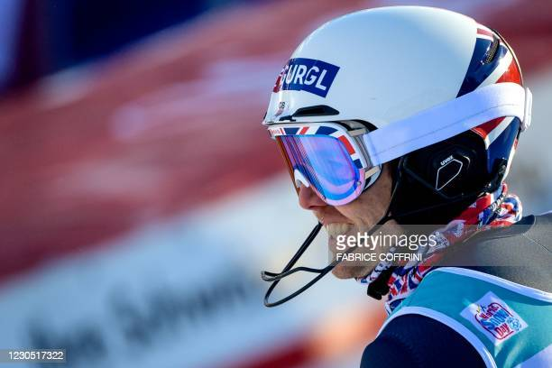 Britain's Dave Ryding reacts as he crosses the finish line after competing in the round 2 of the Men's Slalom race during the FIS Alpine ski World...
