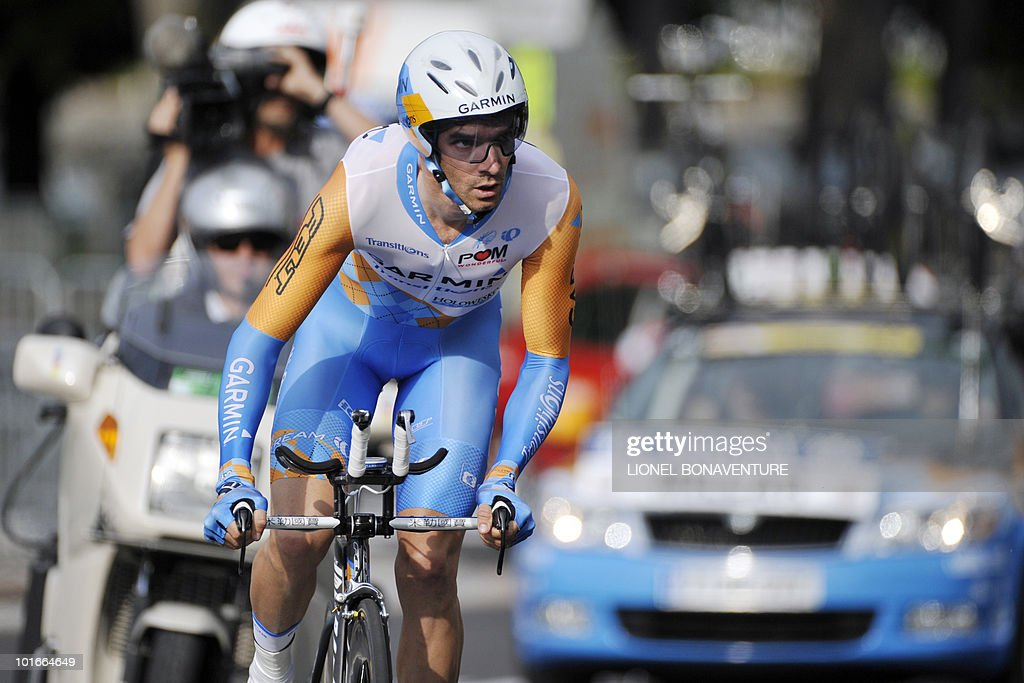 Britain's David Millar competesduring the 6,8 km individual time-trial and first stage of the 62th edition of the Criterium of Dauphine Libere cycling race run in Evian, eastern France, on June 6, 2010. Spanish team leader Alberto Contador (Astana) won the first stage ahead of American Tejay Van Garderen (HTC-Columbia ) and Slovenian Janez Brajkovic (Radioshack).