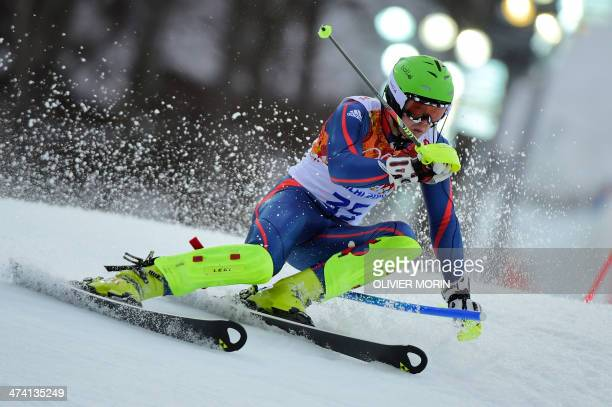 Britain's David Ryding competes during the Men's Alpine Skiing Slalom Run 1 at the Rosa Khutor Alpine Center during the Sochi Winter Olympics on...