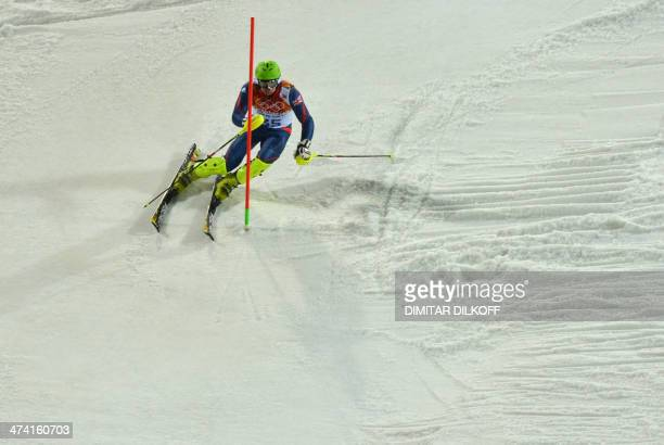 Britain's David Ryding competes during the Men's Alpine Skiing Slalom Run 2 at the Rosa Khutor Alpine Center during the Sochi Winter Olympics on...