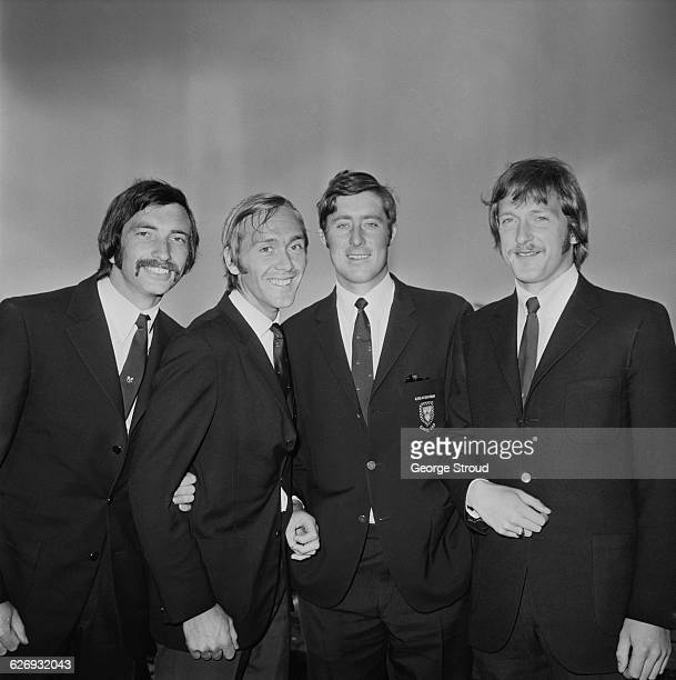 Britain's Davis Cup team at London Airport UK 23rd April 1971 From left to right John Paish Gerald Battrick Peter Curtis and Stanley Matthews