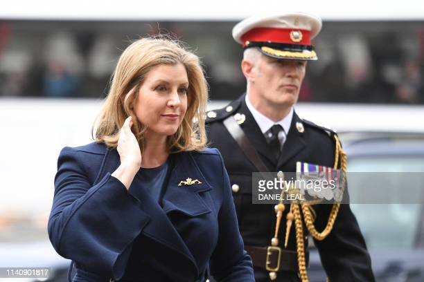 TOPSHOT Britain's Defence minister Penny Mordaunt arrives at Westminster Abbey to attend a service to recognise fifty years of continuous at sea...