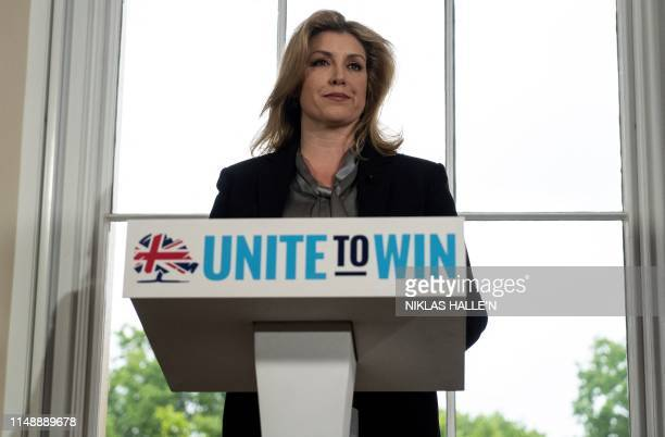 Britain's Defence Secretary and Minister for Women and Equalities Penny Mordaunt speaks during the launch of Britain's Foreign Secretary Jeremy...
