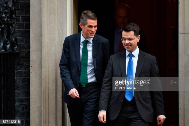 Britain's Defence Secretary Gavin Williamson and Britain's Northern Ireland Secretary James Brokenshire leave10 Downing Street after a prebudget...