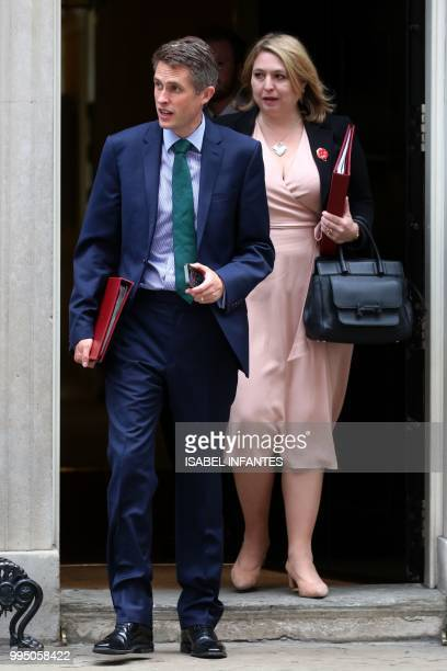 Britain's Defence Secretary Gavin Williamson and Britain's Northern Ireland Secretary Karen Bradley leave 10 Downing Street in central London after...
