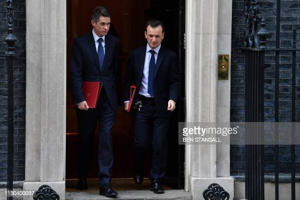 Britain's Defence Secretary Gavin Williamson and Britain's Wales Secretary Alun Cairns leaves after attending a Cabinet meeting at 10 Downing Street...