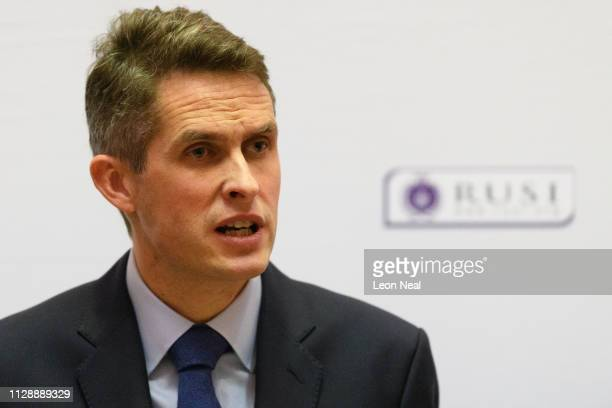 Britain's Defence Secretary Gavin Williamson announces increased investment in the armed forces during a speech on February 11 2019 in London England...
