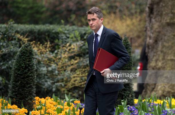 Britain's Defence Secretary Gavin Williamson arrives for an emergency cabinet meeting at Downing Street on April 12 2018 in London England British...