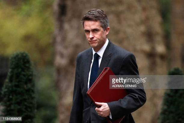 Britain's Defence Secretary Gavin Williamson arrives in Downing street for a cabinet meeting on April 2 2019 The British cabinet is gathering today...