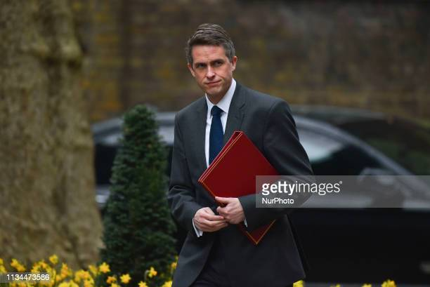 Britain's Defence Secretary Gavin WIlliamson arrives in Downing street London for a cabinet meeting on April 2 2019 The British cabinet is gathering...