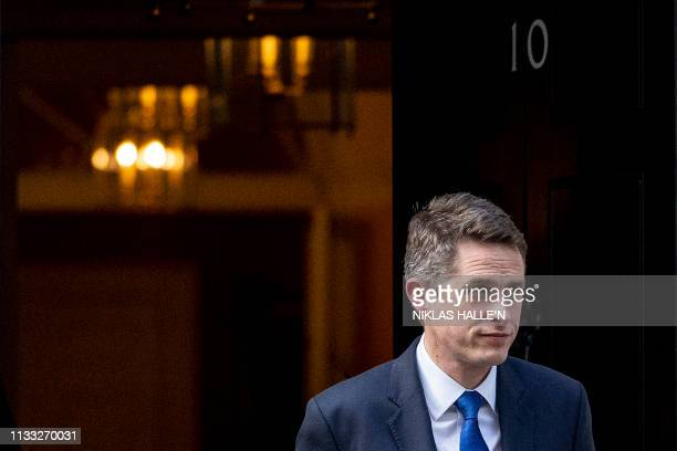 Britain's Defence Secretary Gavin Williamson leaves 10 Downing Street in London on March 28 2019 The British government said it intended to put Prime...