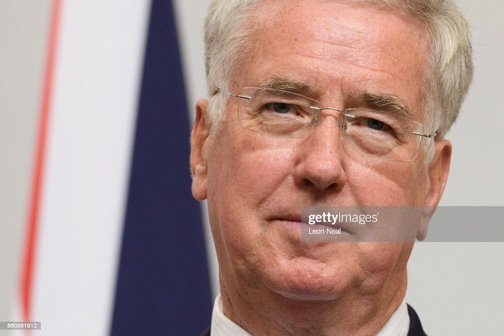 Britain's Defence Secretary Michael Fallon addresses members of the media during a joint UK/Poland press conference in the Foreign and Commonwealth Office on October 12, 2017 in London, England. The UK and Poland held bilateral talks in Westminster, covering issues such as European security and military co-operation.
