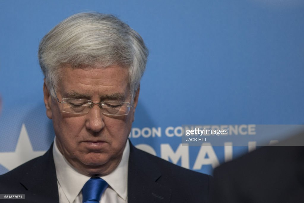Britain's Defence Secretary Michael Fallon attends the London Somalia Conference at Lancaster House in London on May 11, 2017. International leaders are gathering in London on Thursday to thrash out agreements with Somalia aimed at stabilising the country under its new political leadership. The one-day conference is looking to strike a new compact that will accelerate progress on security, development and the troubled east African country's economy by 2020. HILL