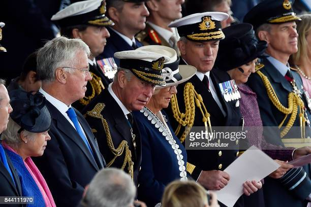 Britain's Defence Secretary Michael Fallon Britain's Prince Charles Prince of Wales Duke of Rothesay in Scotland and Britain's Camilla Duchess of...