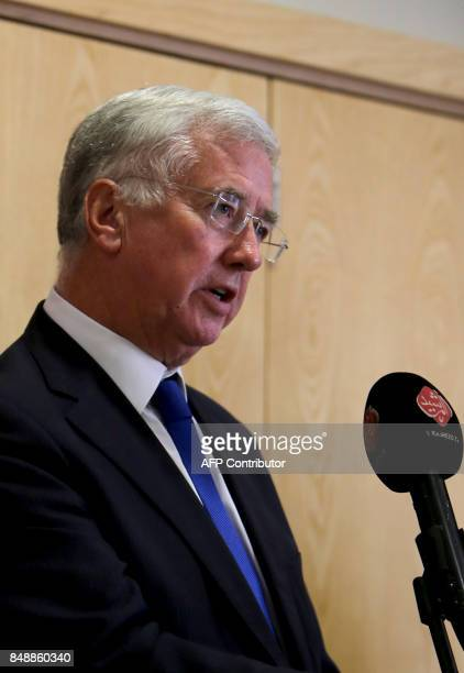 Britain's Defence Secretary Michael Fallon holds a press conference in the Iraqi capital Baghdad on September 18 2017 Fallon said he would try to...