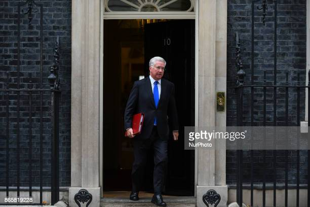 Britain's Defence Secretary Michael Fallon leaves 10 Downing Street after the weekly meeting of the cabinet in central London on October 24 2017