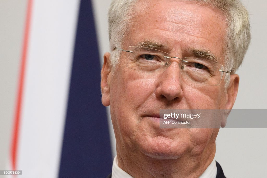 Britain's Defence Secretary Michael Fallon speaks during a joint UK/Poland press conference following bilateral talks at the Foreign and Commonwealth Office in London on October 12, 2017. / AFP PHOTO / POOL / Leon Neal