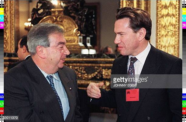 Britain's Defence Secretary Michael Portillo chats with Russian Foreign Minister Yevgeny Primakov at the start of the two-day Bosnia Peace...