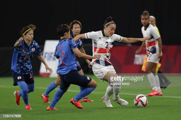 Britain's defender Lucy Bronze controls the ball during the Tokyo 2020 Olympic Games women's group E first round football match between Japan and...