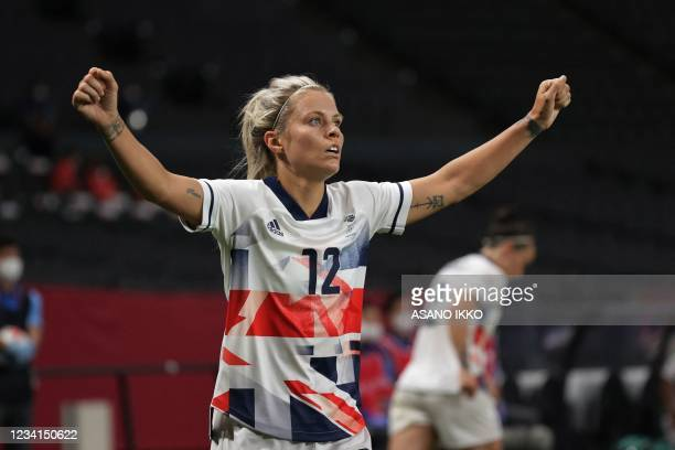 Britain's defender Rachel Daly celebrates after Britain won the Tokyo 2020 Olympic Games women's group E first round football match between Japan and...