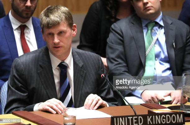 Britain's Deputy UN Ambassador Jonathan Allen makes a speech during the United Nations Security Council urgent meeting called by the United Kingdom...