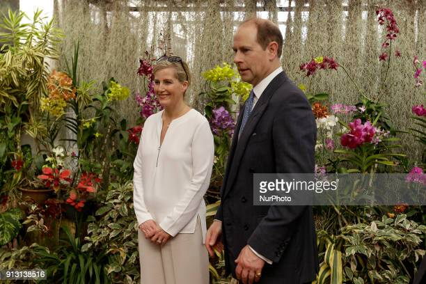 Britain's Earl of WessexPrince Edward and his wife Sophie RhysJones Countess of Wessex visit the Botanical Gardens at Peradeniya Kandy in the central...