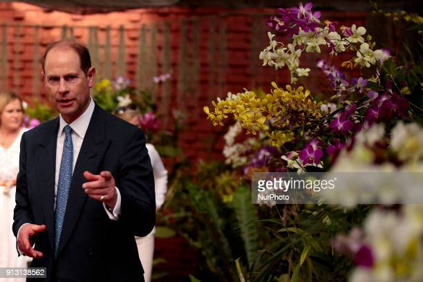 Britain's Earl of WessexPrince Edward is seen next to orchid flowers at the Botanical Gardens at Peradeniya Kandy in the central part of the Sri...