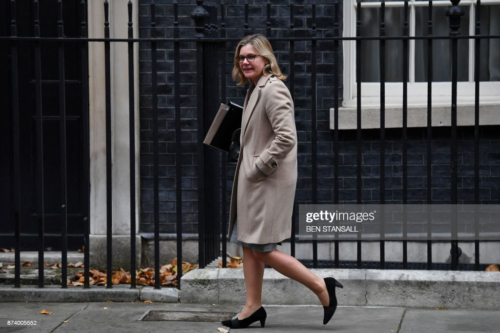 Britain's Education Secretary and Minister for Women and Equalities Justine Greening leaves 10 Downing Street after attending the weekly meeting of the Cabinet in central London on November 14, 2017. British Prime Minister Theresa May begins a major parliamentary battle over Brexit on Tuesday, facing competing demands by MPs to change her strategy as tensions rise among her scandal-hit ministers. MPs will have their first chance to scrutinise the EU Withdrawal Bill, which would formally end Britain's membership of the European Union and transfer four decades of EU legislation into UK law. / AFP PHOTO / Ben STANSALL
