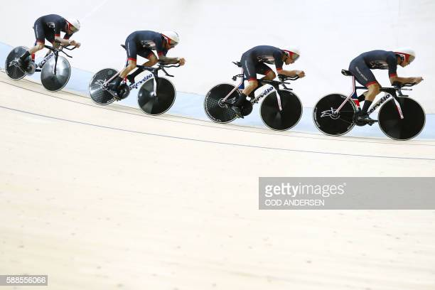 TOPSHOT Britain's Edward Clancy Steven Burke Owain Doull and Bradley Wiggins compete in the men's Team Pursuit qualifying track cycling event at the...