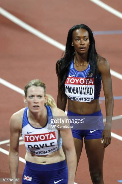 Britain's Eilidh Doyle and US athlete Dalilah Muhammad react after the semifinals of the women's 400m hurdles athletics event at the 2017 IAAF World...
