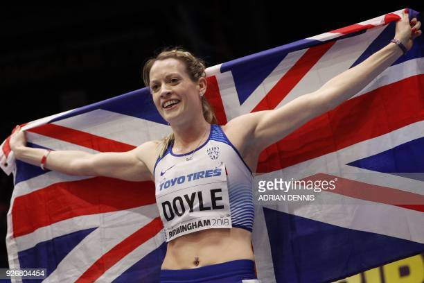 Britain's Eilidh Doyle celebrates taking bronze in the women's 400m final at the 2018 IAAF World Indoor Athletics Championships at the Arena in...