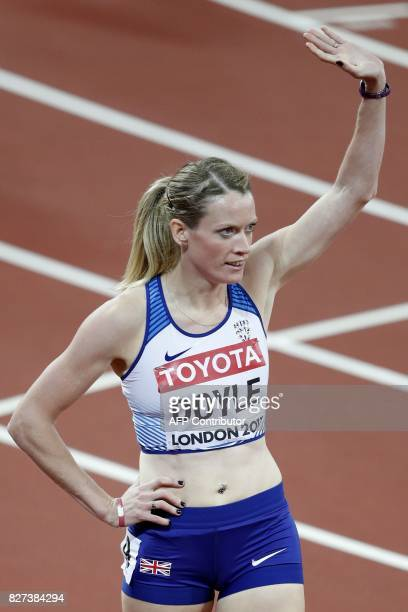 Britain's Eilidh Doyle competes in the heats of the women's 400m hurdles athletics event at the 2017 IAAF World Championships at the London Stadium...