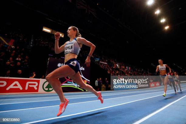 Britain's Eilidh Doyle competes in the women's 400m round 1 heats at the 2018 IAAF World Indoor Athletics Championships at the Arena in Birmingham on...