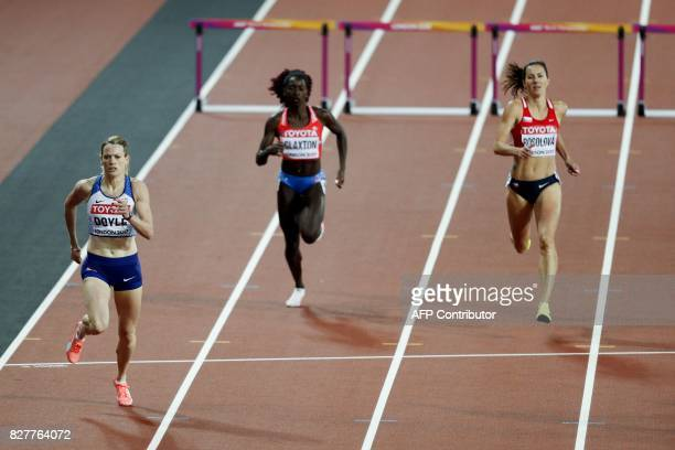 Britain's Eilidh Doyle qualifies in the semifinals of the women's 400m hurdles athletics event at the 2017 IAAF World Championships at the London...
