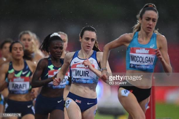 Britain's Eilish McColgan and Britain's Laura Muir compete in the women's 1500m final during the Diamond League athletics meeting at Gateshead...