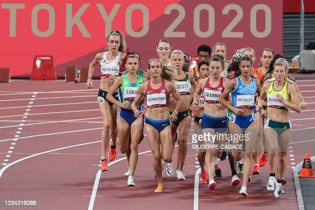 Britain's Eilish McColgan, Slovenia's Klara Lukan, USA's Rachel Schneider, South Africa's Dominique Scott, USA's Elise Cranny, Italy's Nadia...