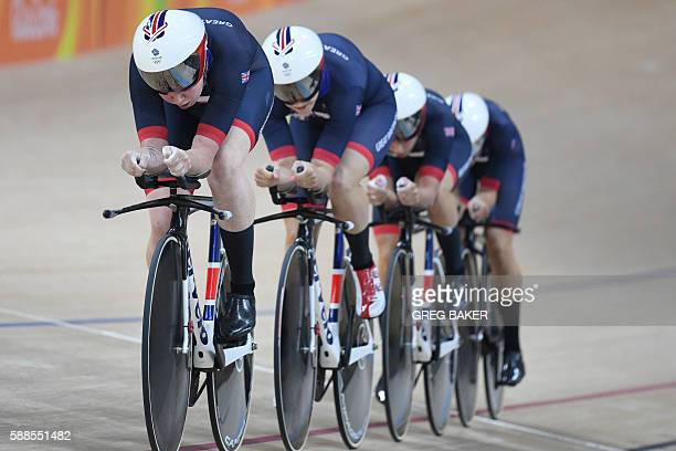 Britain's Elinor Barker Britain's Joanna RowsellShand Britain's Laura Trott and Britain's Katie Archibald compete in the women's Team Pursuit...