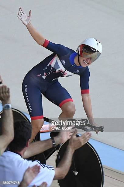 Britain's Elinor Barker celebrates after the women's Team Pursuit first round track cycling event at the Velodrome during the Rio 2016 Olympic Games...