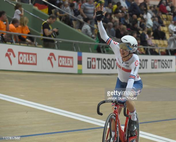 Britain's Elinor Barker reacts after winning the women scratch competition of the UCI Track Cycling World Championships on February 27 2019 in...