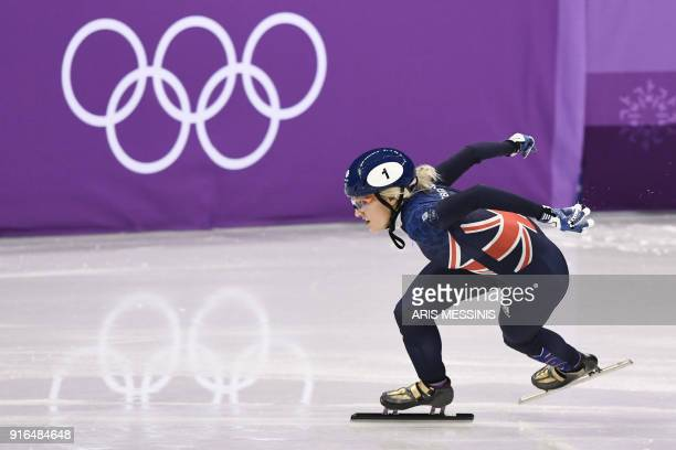 Britain's Elise Christie takes part in the women's 500m short track speed skating heat event during the Pyeongchang 2018 Winter Olympic Games, at the...