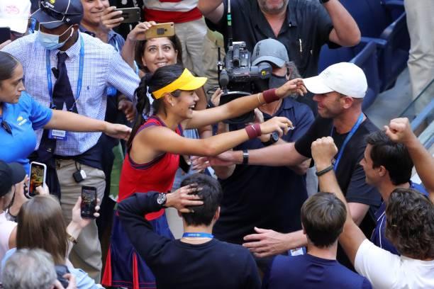 Britain's Emma Raducanu celebrates after winning the 2021 US Open Tennis tournament women's singles final match against Canada's Leylah Fernandez at...