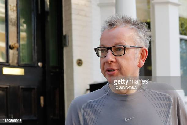 Britain's Environment Food and Rural Affairs Secretary and Conservative leadership contender Michael Gove goes for a morning jog in London on June 20...